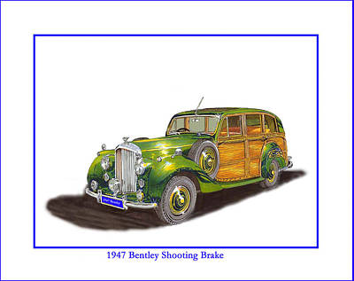 Drawing -  1947 Bentley Shooting Brake by Jack Pumphrey