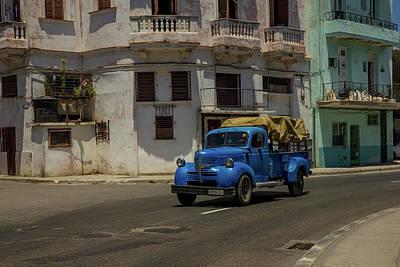 1947 Dodge Truck Photograph - 1947 Blue Dodge Truck On The Streets Of Havana, Cuba by Bridget Calip