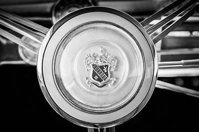 Photograph - 1947 Buick Sedanette Steering Wheel Emblem -0555bw by Jill Reger