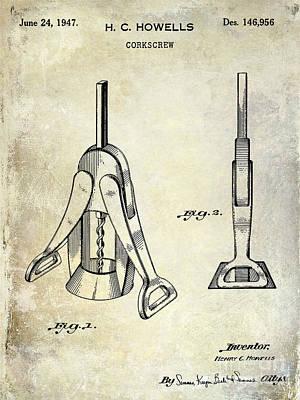 1947 Corkscrew Patent  Art Print