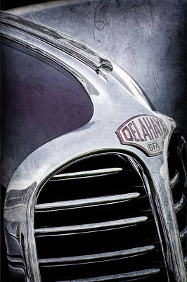 Art Print featuring the photograph 1947 Delahaye Emblem -1477ac by Jill Reger