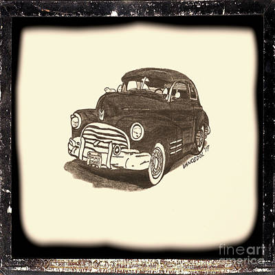 Barrett Jackson Wall Art - Drawing - 1947 Dodge Club Coupe - Antiqued Series by Scott D Van Osdol
