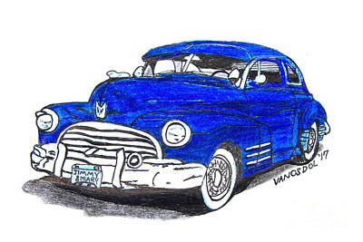 Barrett Jackson Wall Art - Drawing - 1947 Dodge Club Coupe - Cropped  by Scott D Van Osdol