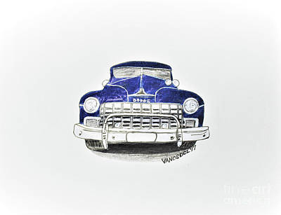 Barrett Jackson Wall Art - Drawing - 1947 Dodge Club Coupe Front View by Scott D Van Osdol