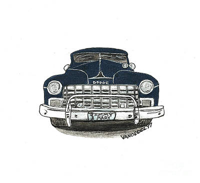 Barrett Jackson Wall Art - Drawing - 1947 Dodge Club Coupe - Navy Blue - Front View by Scott D Van Osdol