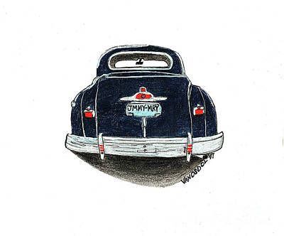 Barrett Jackson Wall Art - Drawing - 1947 Dodge Club Coupe - Navy Blue -  Rear View by Scott D Van Osdol