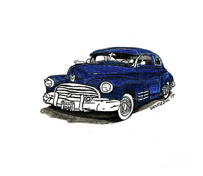 Barrett Jackson Wall Art - Drawing - 1947 Dodge Club Coupe - Navy Blue by Scott D Van Osdol