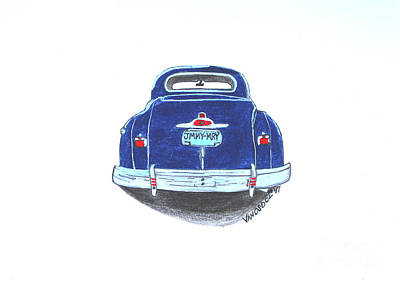 Barrett Jackson Wall Art - Drawing - 1947 Dodge Club Coupe Rear View by Scott D Van Osdol