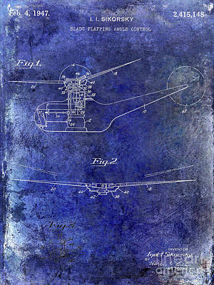 Helicopter Photograph - 1947 Helicopter Patent Blue by Jon Neidert