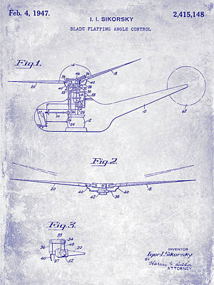 Helicopter Photograph - 1947 Helicopter Patent Blueprint by Jon Neidert