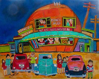 Decarie Hot Dogs Painting - 1947 Roundup At The Orange Julep by Michael Litvack