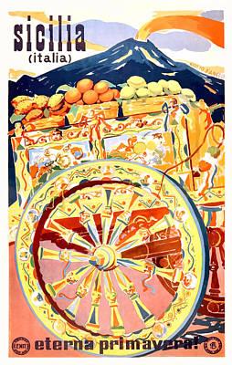 Sicily Digital Art - 1947 Sicily Italy Travel Poster Eternal Spring by Retro Graphics