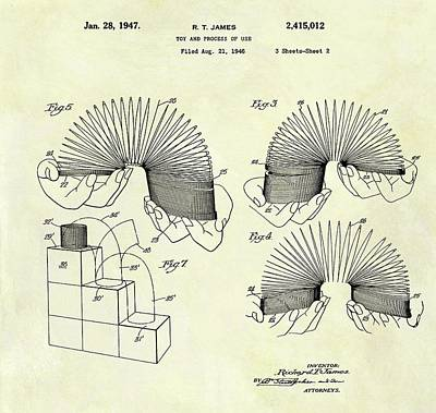 Toy Store Drawing - 1947 Slinky Patent by Dan Sproul