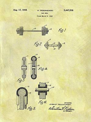 Athletes Drawings - 1948 Dumbbell Patent by Dan Sproul