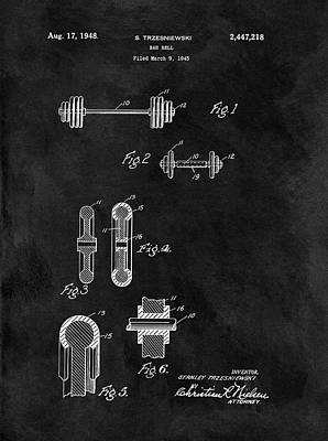 Athletes Drawings - 1948 Dumbbell Patent Illustration by Dan Sproul