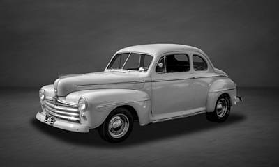 Photograph - 1948 Ford Coupe  -  4bw by Frank J Benz