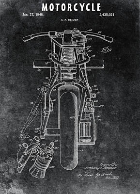 Drawing - 1948 Indian Motorcycle by Dan Sproul