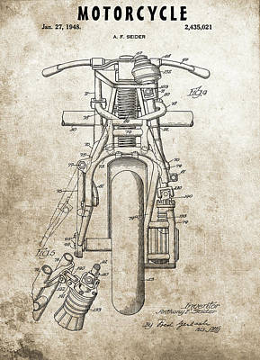 Drawing - 1948 Motorcycle Patent by Dan Sproul