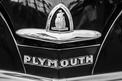 Photograph - 1948 Plymouth Emblem -0388bw by Jill Reger