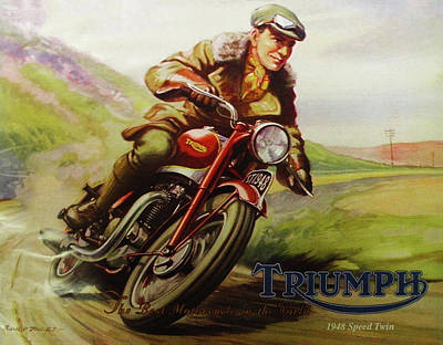 Digital Art - 1948 Triumph Speed Twin by Bill Cannon