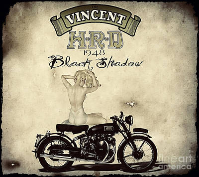Pin Digital Art - 1948 Vincent Black Shadow by Cinema Photography