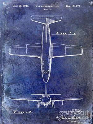Blue Airplane Photograph - 1949 Airplane Patent Drawing Blue by Jon Neidert