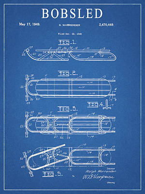 Athletes Drawings - 1949 Bobsled Patent by Dan Sproul
