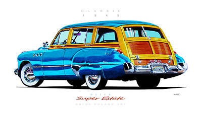 Super Cars Drawing - 1949 Buick Super Estate Woody Wagon by Brian Roland