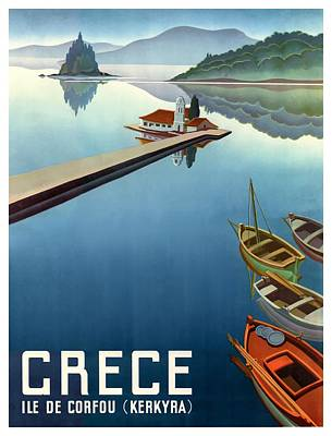 Greece Digital Art - 1949 Corfu Greece Travel Poster by Retro Graphics