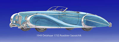 Painting - 1949 Delahaye 175 S Saoutchik Roadster by Jack Pumphrey
