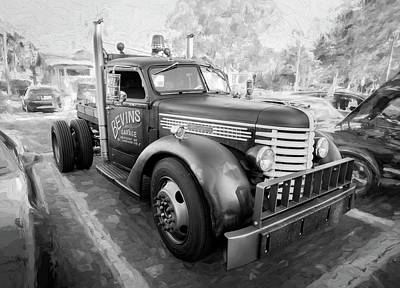 Photograph - 1949 Diamond T Tow Truck Bw C192 by Rich Franco