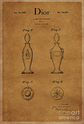 1949 Dior Perfume Bottle Design 1 Art Print