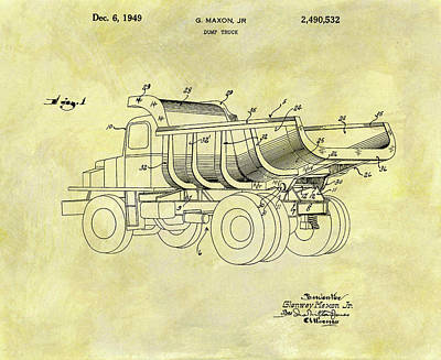 Old Trucks Mixed Media - 1949 Dump Truck Patent Design by Dan Sproul