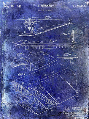 Helicopter Photograph - 1949 Helicopter Patent Blue by Jon Neidert