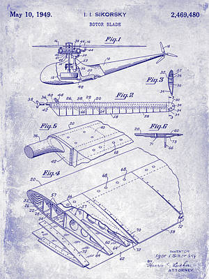 Helicopter Photograph - 1949 Helicopter Patent Blueprint by Jon Neidert