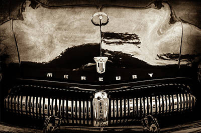 Photograph - 1949 Mercury Coupe Grille - Hood Ornament - Emblem -0914s by Jill Reger