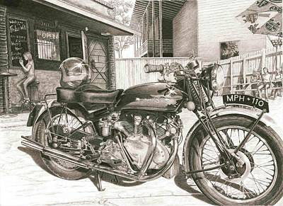 Drawing - 1949 Vincent Rapide Hrd by Norman Bean
