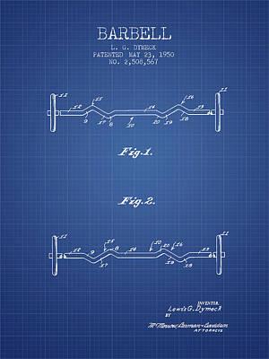 Weightlifting Wall Art - Digital Art - 1950 Barbell Patent Spbb04_bp by Aged Pixel