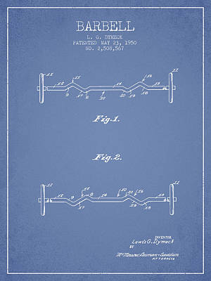 1950 Barbell Patent Spbb04_lb Art Print