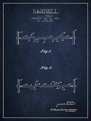 Weightlifting Wall Art - Digital Art - 1950 Barbell Patent Spbb04_nb by Aged Pixel