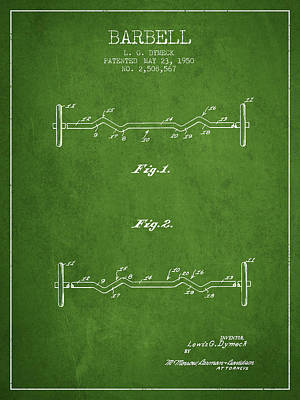 Weightlifting Wall Art - Digital Art - 1950 Barbell Patent Spbb04_pg by Aged Pixel