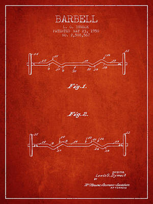 Weightlifting Wall Art - Digital Art - 1950 Barbell Patent Spbb04_vr by Aged Pixel