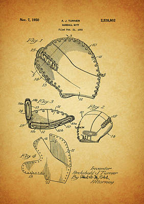 Mixed Media - 1950 Baseball Mitt Patent by Dan Sproul