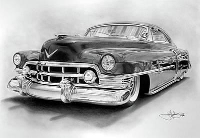 1950 Cadillac Drawing Art Print