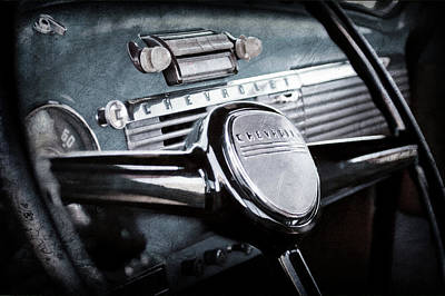 Classic Chevy Truck Photograph - 1950 Chevrolet 3100 Pickup Truck Steering Wheel -0142ac by Jill Reger