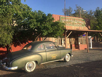 Photograph - 1950 Chevrolet Coupe In Front Of Portal Store by Melinda Fawver