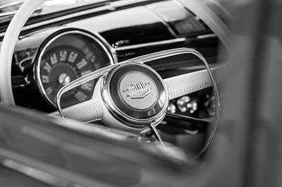 Photograph - 1950 Ford Woody Steering Wheel -0579bw by Jill Reger