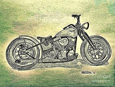 1950 Harley Davidson Panhead Motorcycle - Abstract Print by Scott D Van Osdol