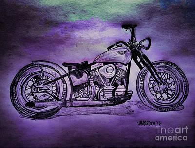 1950 Harley Davidson Panhead Motorcycle - Purple Moon Print by Scott D Van Osdol