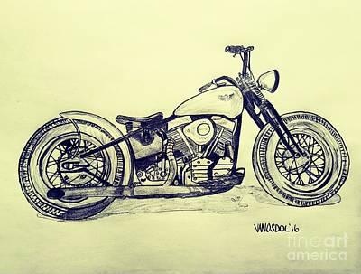 1950 Harley Davidson Panhead Motorcycle - Vintage Print by Scott D Van Osdol